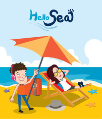 Summer holidays vector illustration,flat design beach on the couple, concept