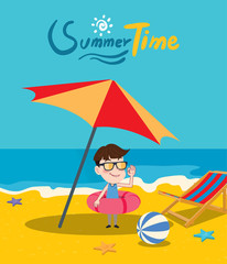 Summer holidays vector illustration,flat design parasol and boy