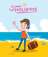 Summer holidays vector illustration,flat design listening to music and beach concept