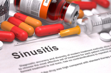 Diagnosis - Sinusitis. Medical Concept. 3D Render.