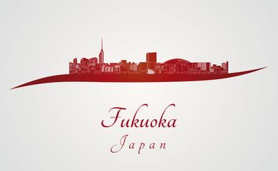 Fukuoka skyline in red Wall mural