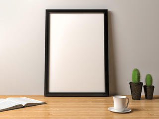 blank frame poster on the table