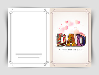 Greeting card with floral text for Father's Day.