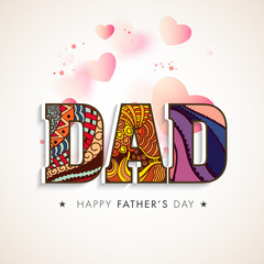 Floral text Dad with hearts for Father's Day concept.
