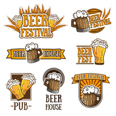 Set of color logos, icons, signs, badges, labels and beer