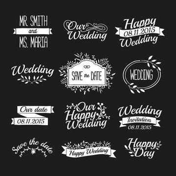 Set of wedding vintage retro logos, signs, labels, stickers
