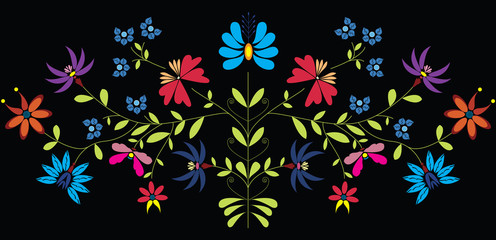 European Culture Inspired Folk Floral pattern in color on black background