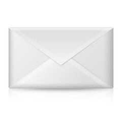 Blank realistic vector closed envelope. Isolated on white