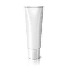 Blank realistic tube for toothpaste, lotion, cosmetics, medicine