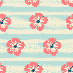 Hibiscus Flowers and Stripes Seamless Pattern
