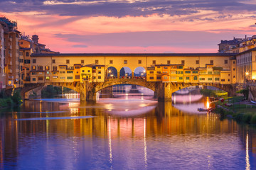 Aluminium Prints Florence Arno and Ponte Vecchio at sunset, Florence, Italy
