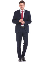 young business man walking on isolated background.