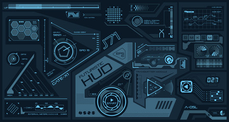 HUD abstract interface. Futuristic elements on monochrome screen