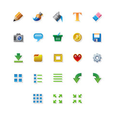 Colorful web app graphic editor tools icons on white background