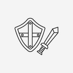 Sword and shield line icon