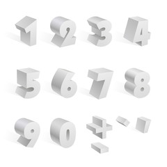 White 3d numbers isolated font on white background