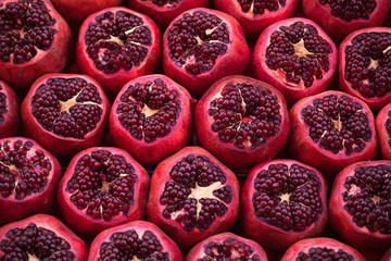 Cut pomegranates on streets of Istanbul
