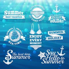 Template design white logo, label, badge, prints for the summer
