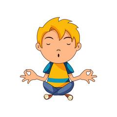 Child doing yoga, meditating