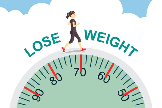 Healthy women lose weight with jogging on big scale, health