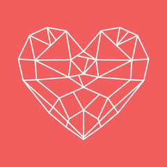 Diamond heart - low poly vector heart
