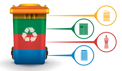 Recycle infographic with trash bin and garbage icons