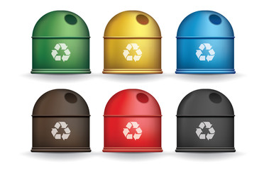 Colorful recycle trash containers isolated vector set