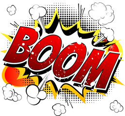 Boom - Comic book, cartoon explosion isolated on white background.