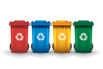 Colorful recycle trash bins isolated white vector set