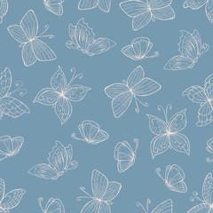 Vector seamless pattern with hand drawn butterflies and flowers on blue background. Background for use in design, web site, packing, textile, fabric