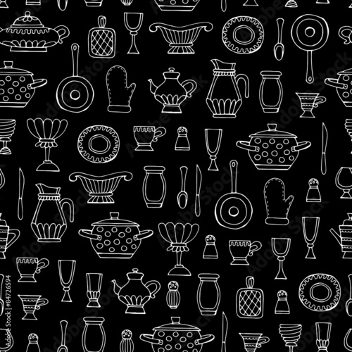 Kitchen Utensils Background vector seamless pattern with hand drawn kitchen utensils
