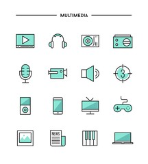 set of thin line flat multimedia icons