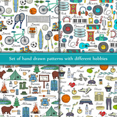 Vector set of hand drawn seamless patterns with different hobbies on white background. Sketches for use in design