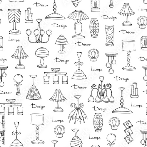 Vector Seamless Pattern Of Hand Drawn Lamps And Chandeliers On White Background Decorative Elements For