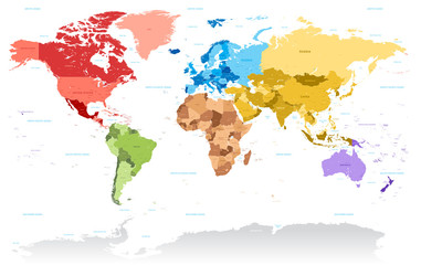 Obraz Vector High Detail color map of the World - fototapety do salonu