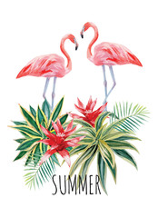 flamingo and tropical plants watercolor print