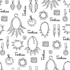Vector seamless pattern of hand drawn fashionable jewelry for women on white background. Background for use in design, web site, packing, textile, fabric