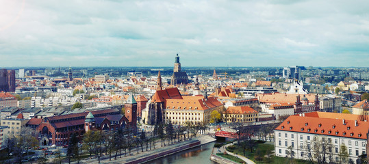 panoramic view of the old city of Wroclaw in Poland on dramatic