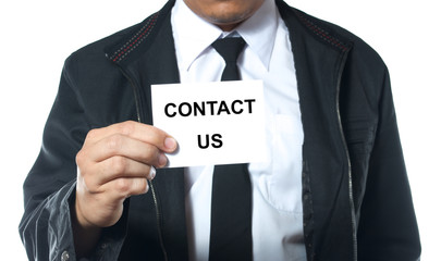 hand holding card contact us