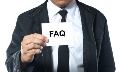 hand holding card FAQ