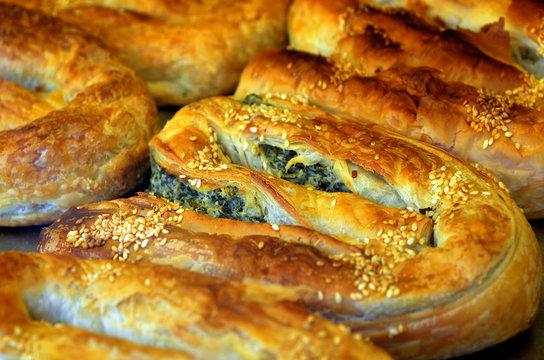 Balkans pastry borek on display in a bakery