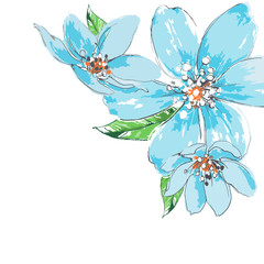 Blue flowers background watercolor corner ornament