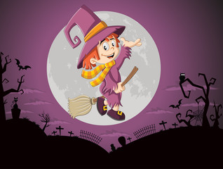 Cartoon witch girl flying over halloween cemetery background