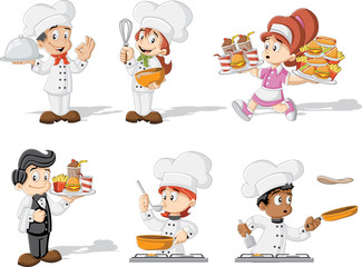 Cartoon chefs cooking, waitress and waiter holding tray with fast food.