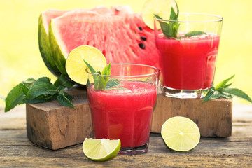 Fresh watermelon smoothies with lime and mint