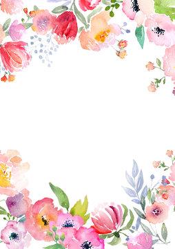 Watercolor roses card template