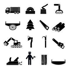 Woodworking Industry Icons Black