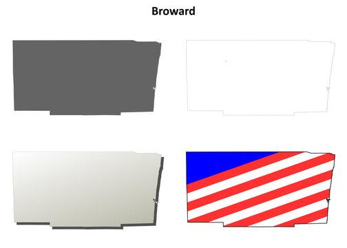 Broward County (Florida) outline map set