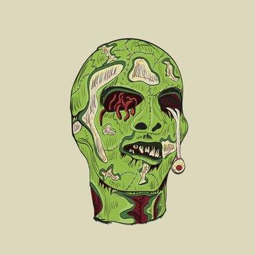 zombie head with brain