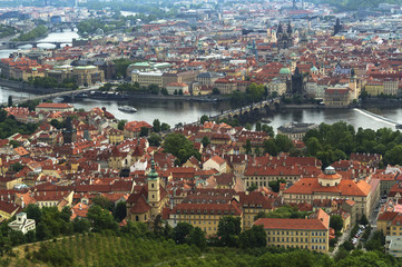 Panorama of Prague from Petrin Lookout Tower